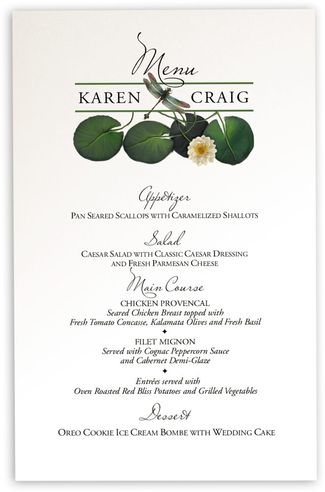 Photograph of Water Lily Patch Wedding Menus