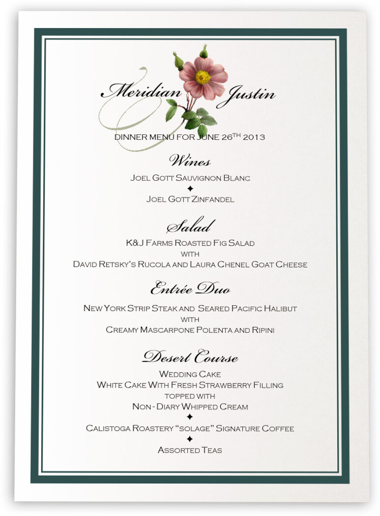 Photograph of Wild Pink Rose Swirl Wedding Menus