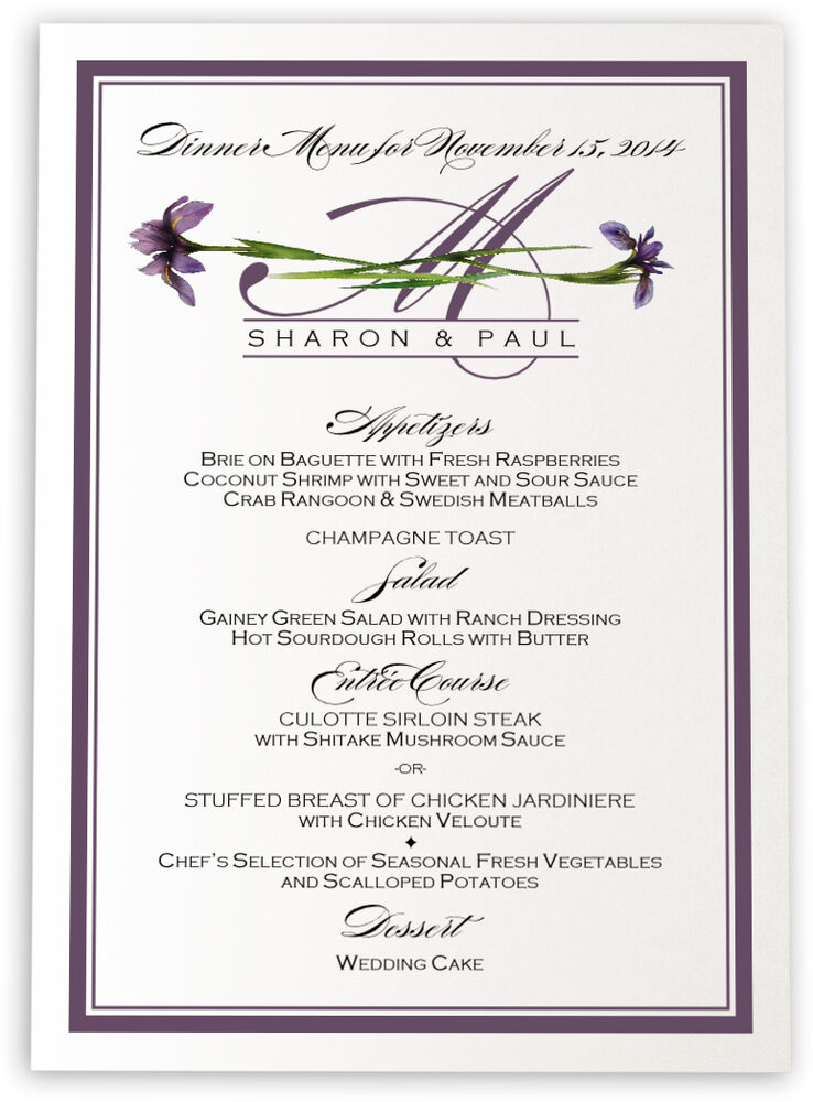 Photograph of Wispy Iris Wedding Menus