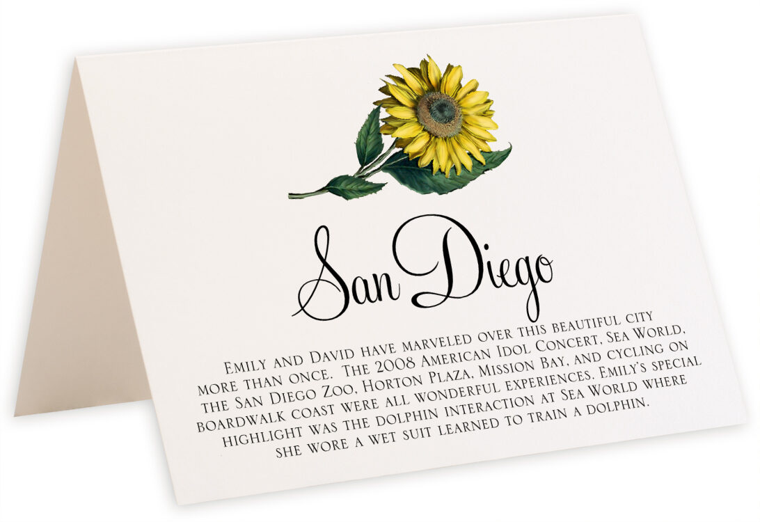 Photograph of Tented Sunflower Memorabilia Cards