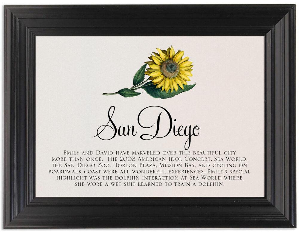 Framed Photograph of Sunflower Memorabilia Cards