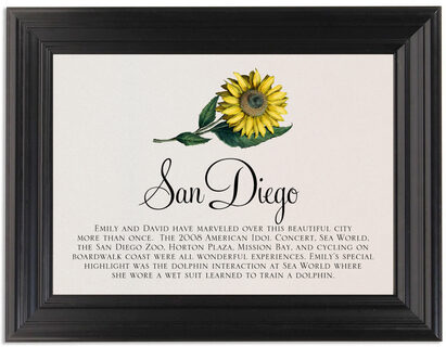 Framed Photograph of Sunflower Memorabilia Cards