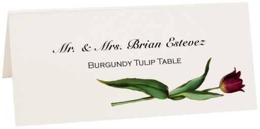 Photograph of Tented Burgundy Tulip Place Cards