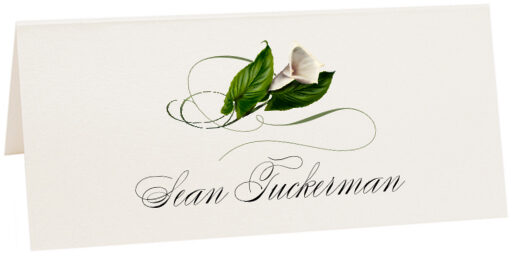 Photograph of Tented Calla Lily Swirl Place Cards