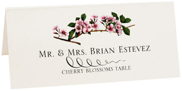 Photograph of Tented Cherry Blossoms Place Cards