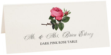 Photograph of Tented Dark Pink Rose Place Cards