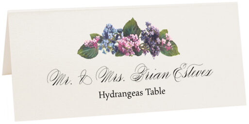Photograph of Tented Hydrangeas Place Cards