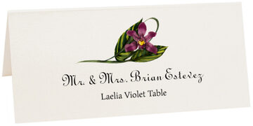 Photograph of Tented Laelia Violet Place Cards