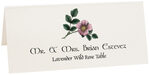 Photograph of Tented Lavender Wild Rose Place Cards