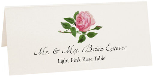 Photograph of Tented Light Pink Rose Place Cards