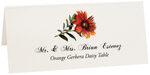 Photograph of Tented Orange Gerbera Daisy Place Cards