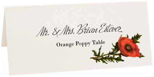 Photograph of Tented Orange Poppy Place Cards