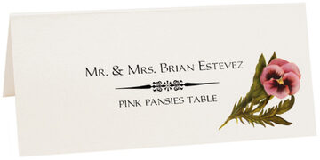 Photograph of Tented Pink Pansies Place Cards