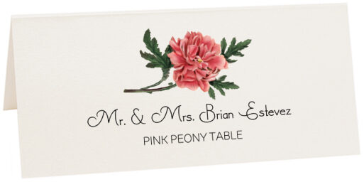 Photograph of Tented Pink Peony Place Cards