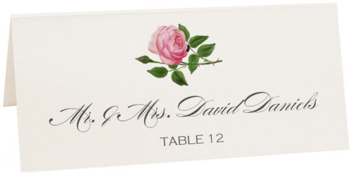 Photograph of Tented Pink Tea Rose Place Cards