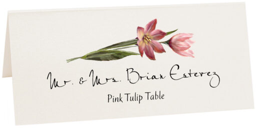 Photograph of Tented Pink Tulip Place Cards