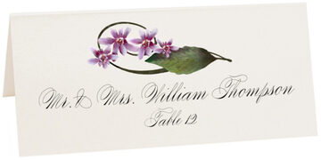 Photograph of Tented Purple Calypso Orchid Place Cards