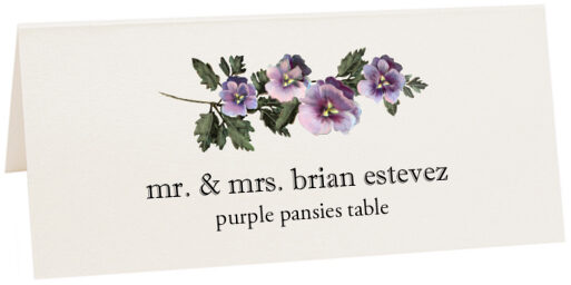 Photograph of Tented Purple Pansies Place Cards