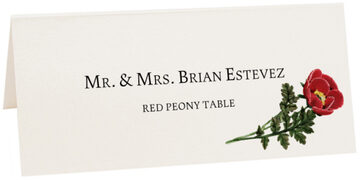 Photograph of Tented Red Peony Place Cards