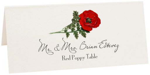 Photograph of Tented Red Poppy Place Cards