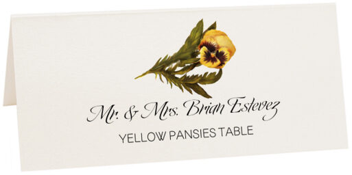 Photograph of Tented Yellow Pansies Place Cards