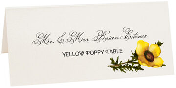 Photograph of Tented Yellow Poppy Place Cards