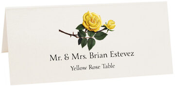 Photograph of Tented Yellow Rose Place Cards