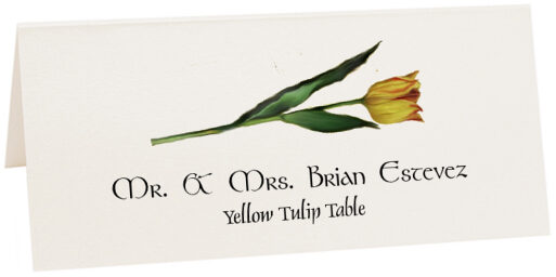Photograph of Tented Yellow Tulip Place Cards