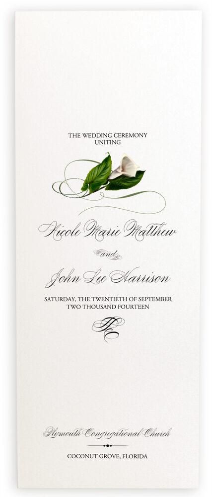 Photograph of Calla Lily Swirl Wedding Programs