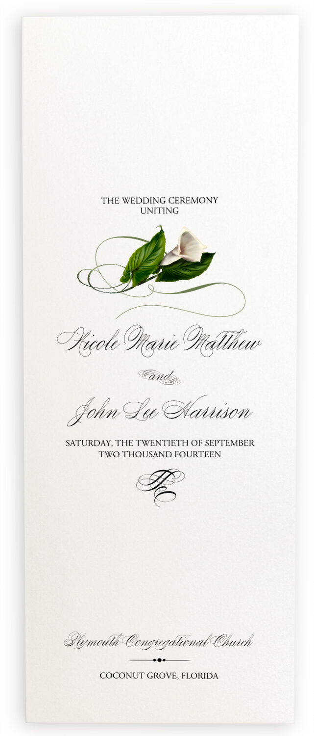 Photograph of Calla Lily Swirl Wedding Programs