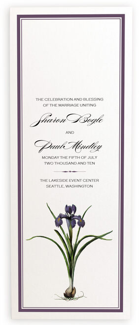 Photograph of Iris Bulb Wedding Programs