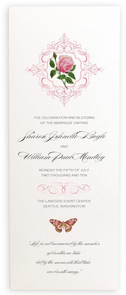 Photograph of Pink Tea Rose Wedding Programs