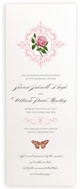 Photograph of Pink Tea Rose Wedding Programs