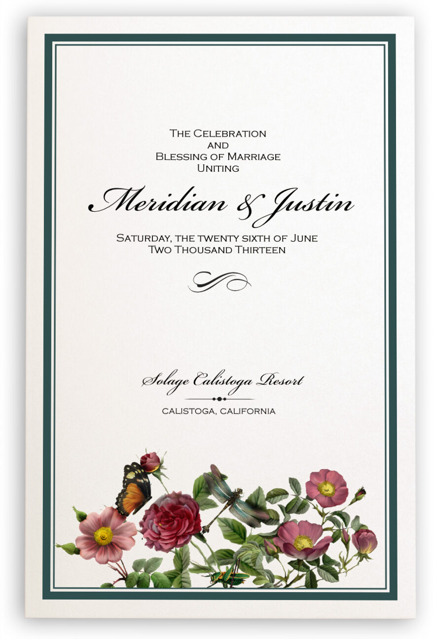 Photograph of Rose Garden Wedding Programs