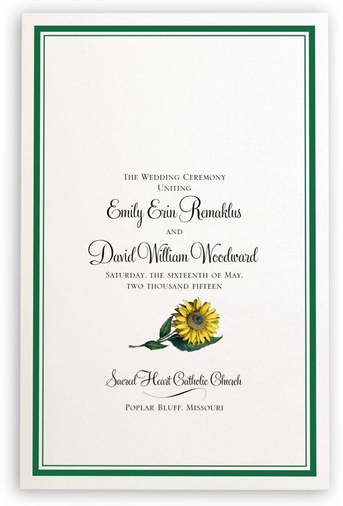 Photograph of Sunflower Wedding Programs