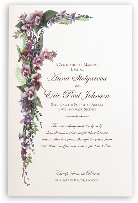 Photograph of Tropical Flowers Cascade Wedding Programs