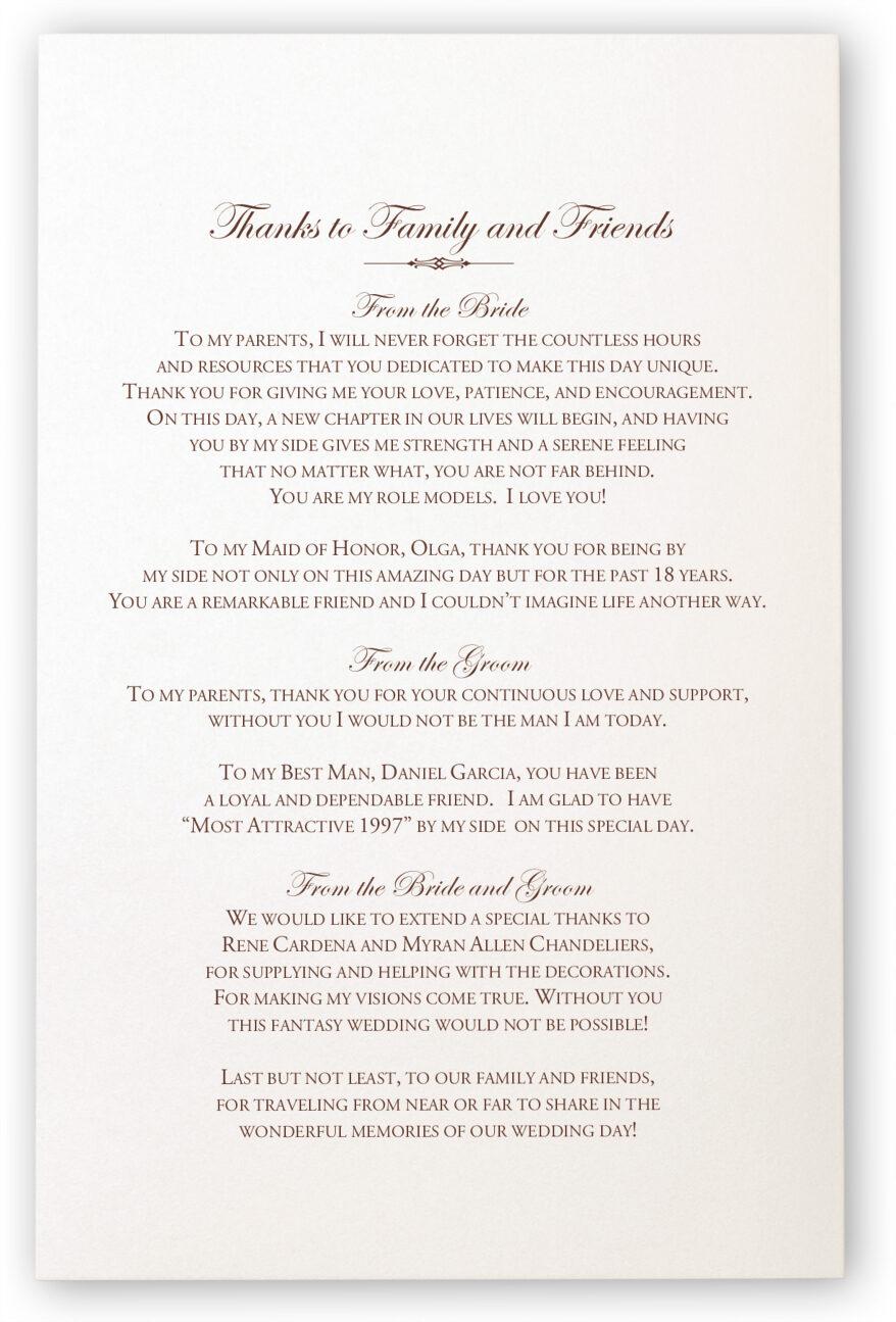thank you wedding program wedding photography