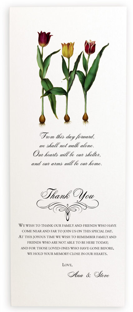 Photograph of Tulip Bulbs Wedding Programs