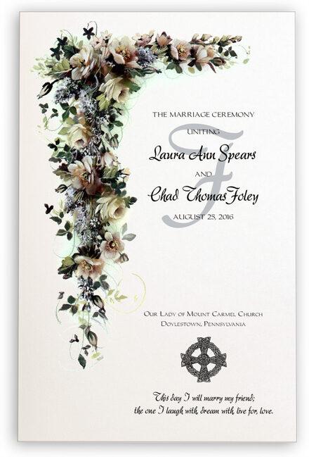 Photograph of White Rose Cascade Wedding Programs