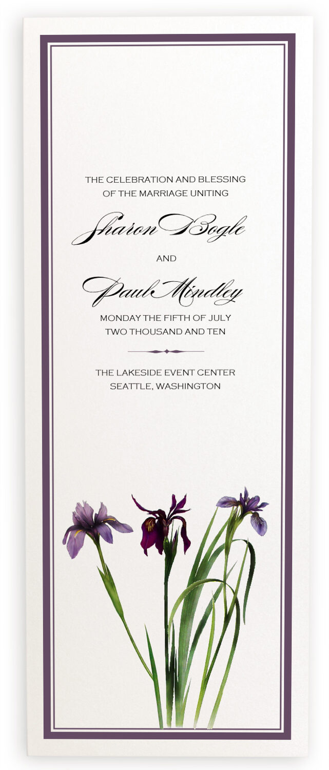 Photograph of Wispy Iris Wedding Programs