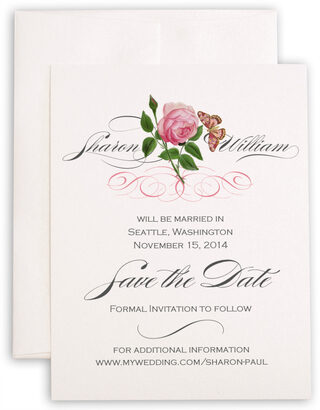 Photograph of Pink Tea Rose Save the Dates