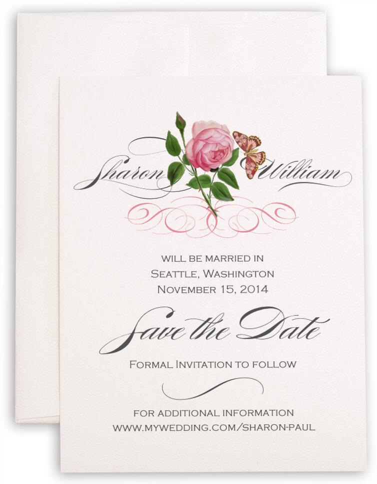 Photograph of Pink Tea Rose Save the Dates