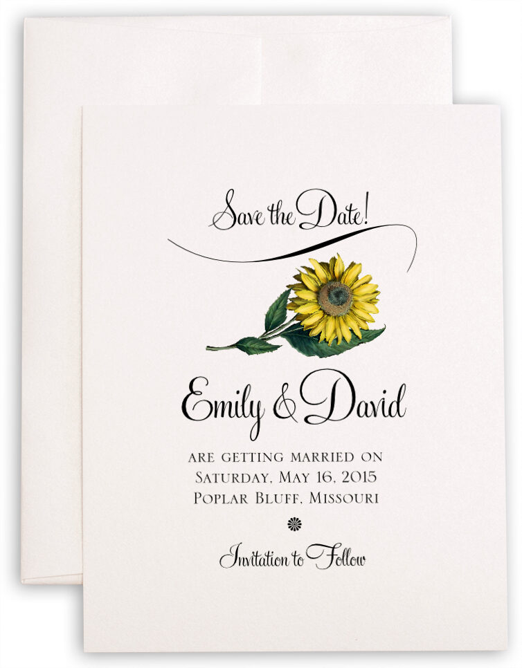 Photograph of Sunflower Save the Dates