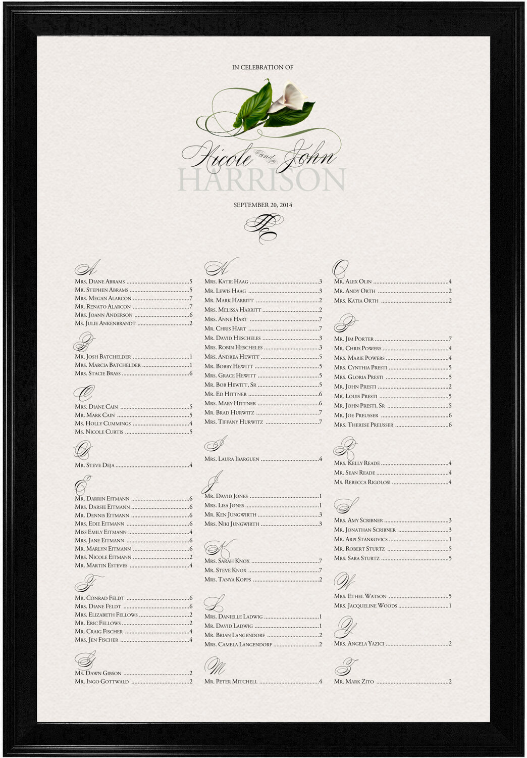 Photograph of Calla Lily Swirl Seating Charts