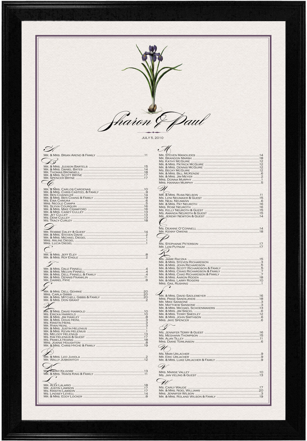 Photograph of Iris Bulb Seating Charts