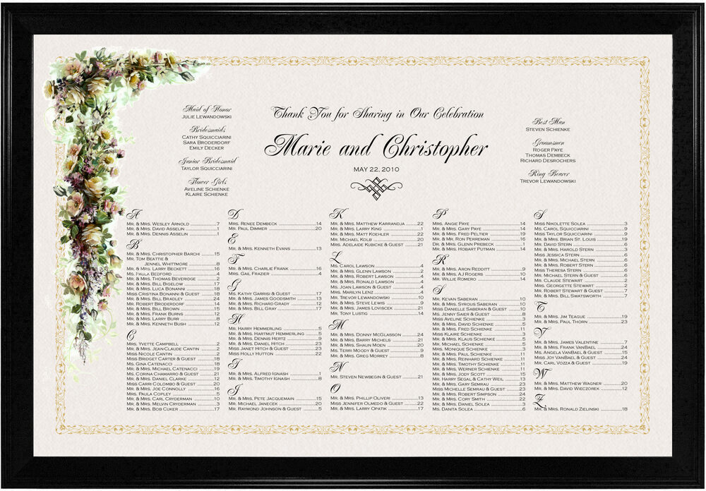 Photograph of Ivory Roses and Daisies Seating Charts