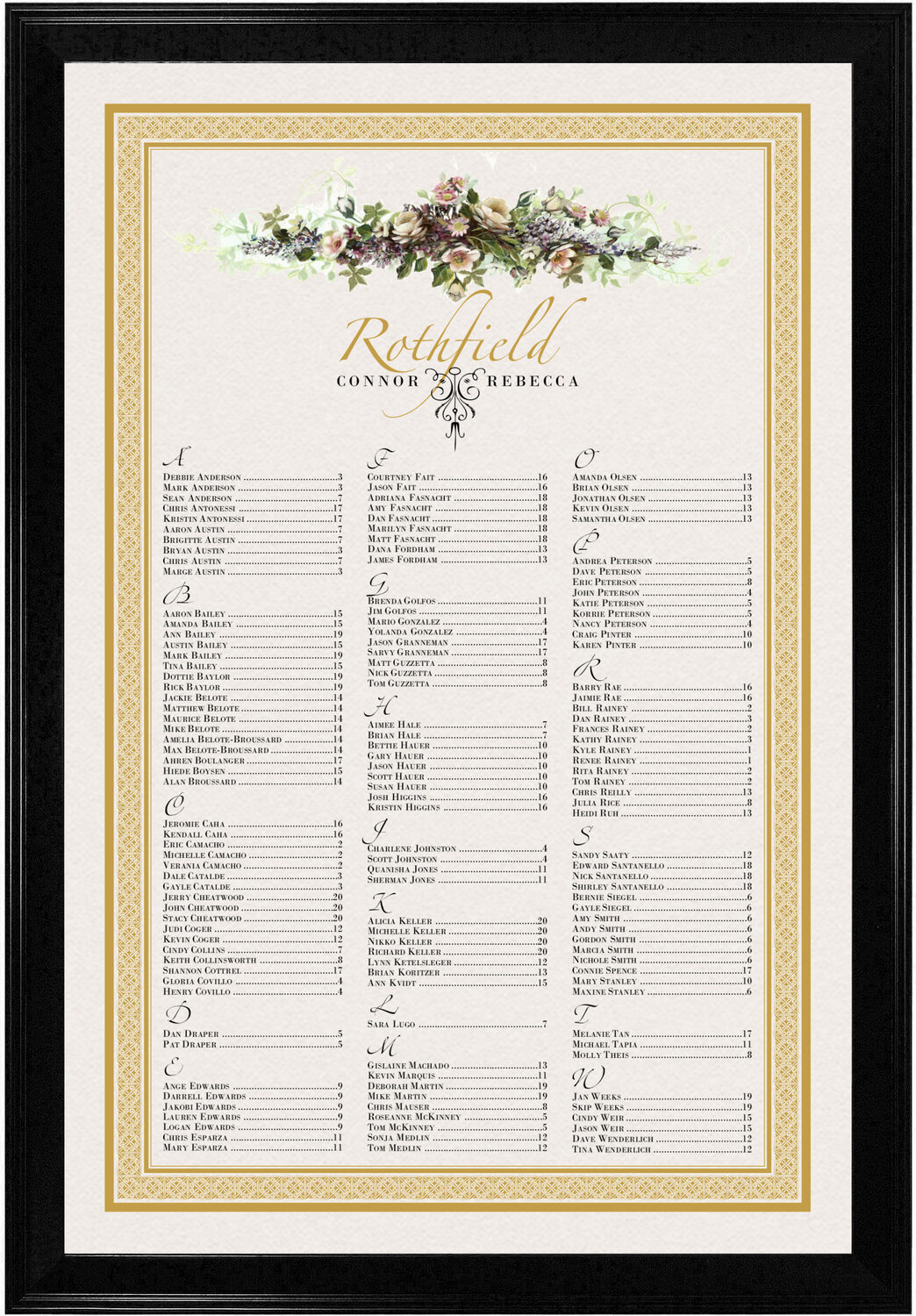 Photograph of Ivory Roses Swag Seating Charts