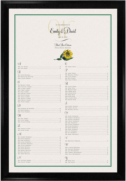 Photograph of Sunflower Seating Charts