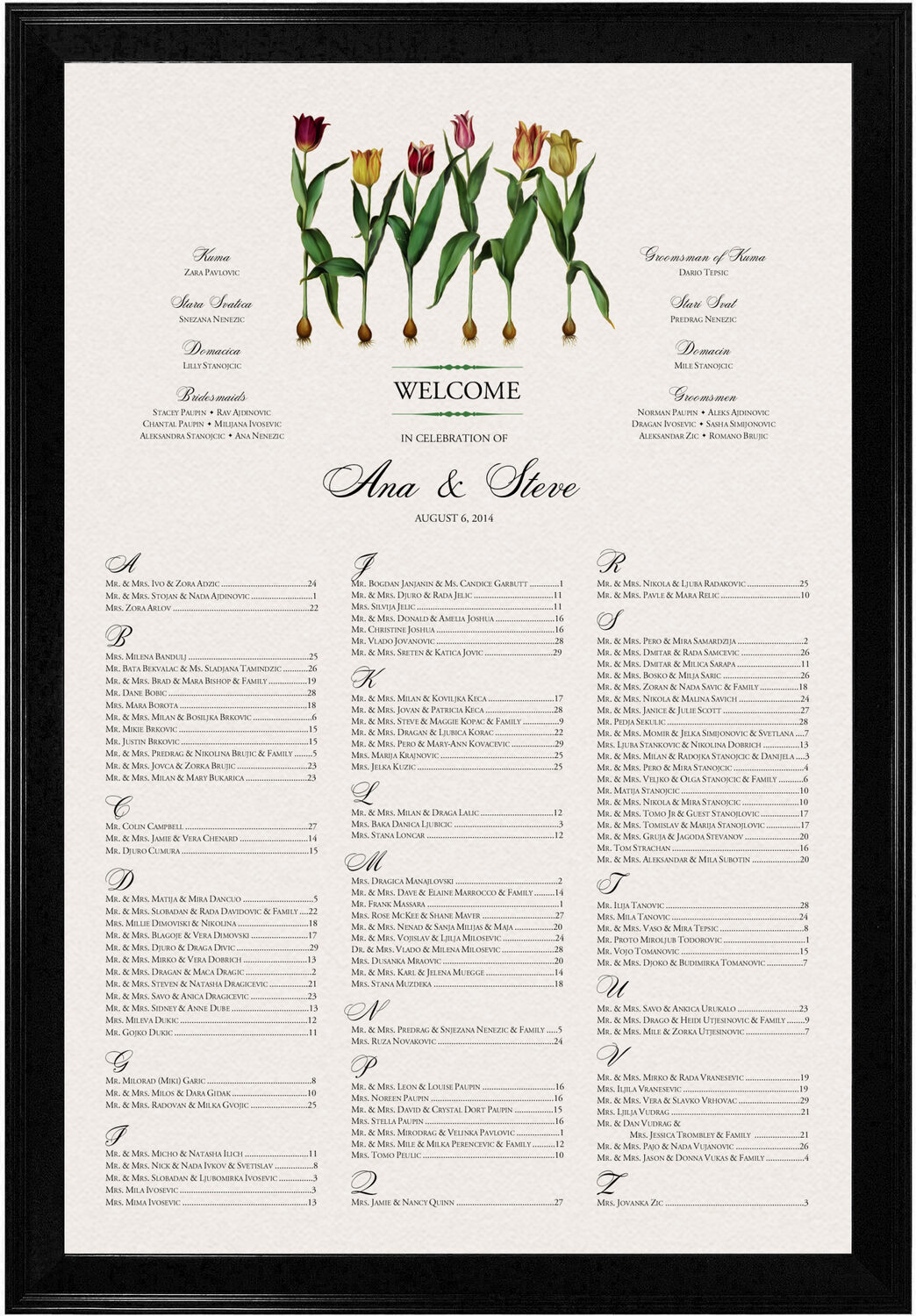 Photograph of Tulip Bulbs Seating Charts