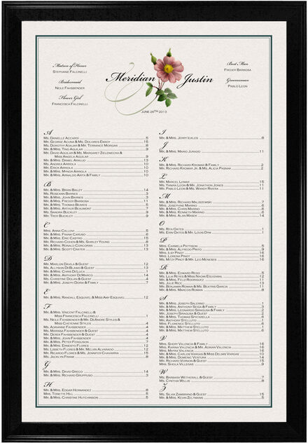 Photograph of Wild Pink Rose Swirl Seating Charts